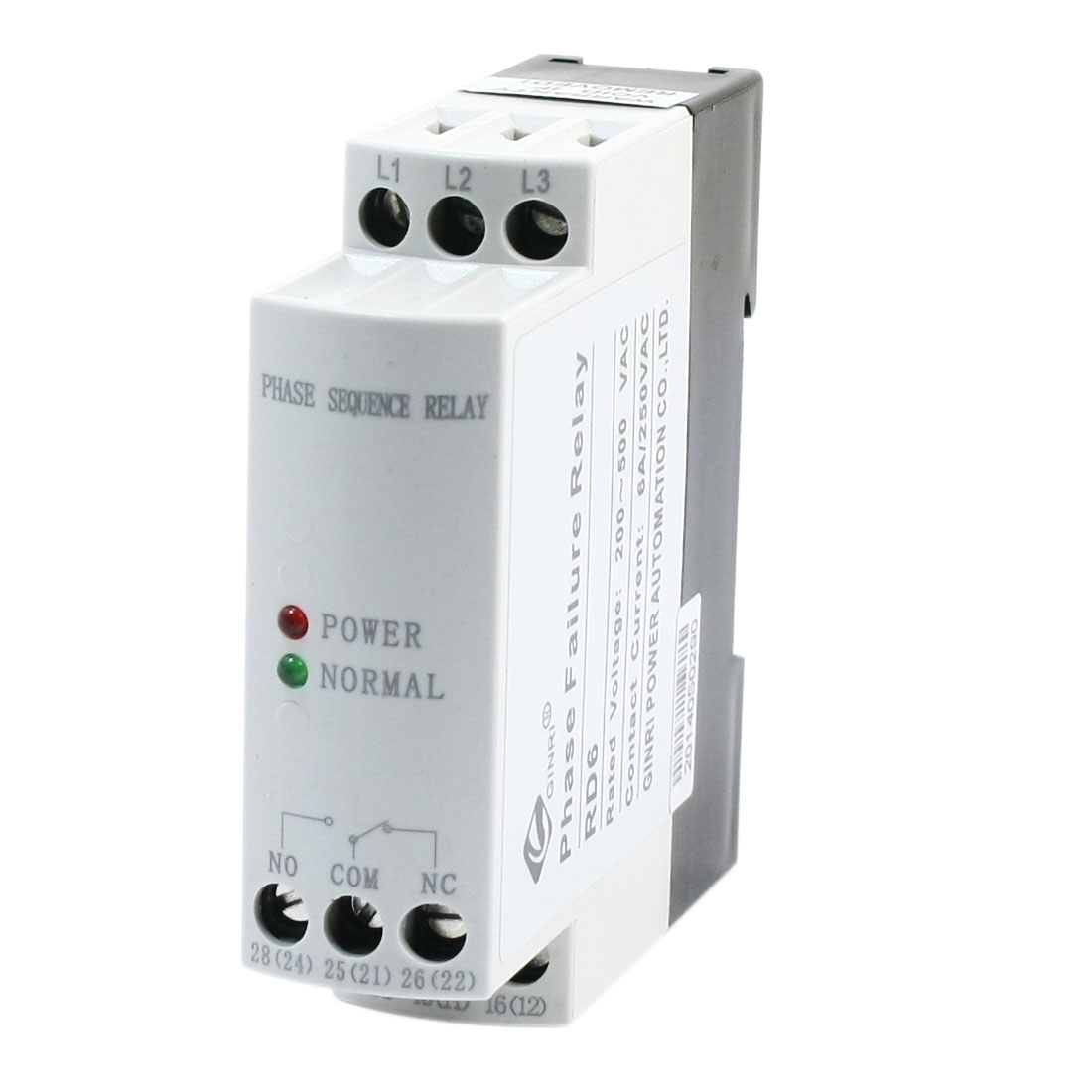 JVRD Protective Three-phase AC 200V-500V SPDT Two LED Indicater 35mm Rail Mounting Phase Failure Sequence Unbalance Relay