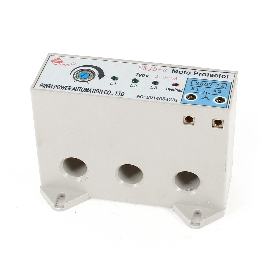 EKJD-8/2.5-5A 3 Phase 2.5-5 Ampere Adjustable Current Breaker Motor Circuit Protector Non Power