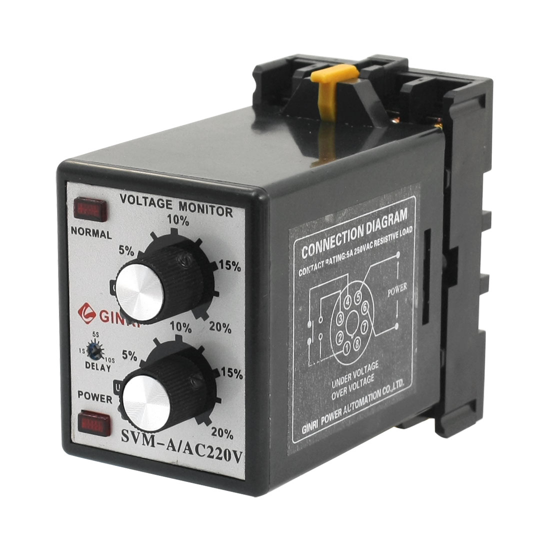 SVM-A/220V Protective AC 220V Single-phase Red LED Indicater Phase Failure Sequence Unbalance Over/Under Voltage Adjustable Relay
