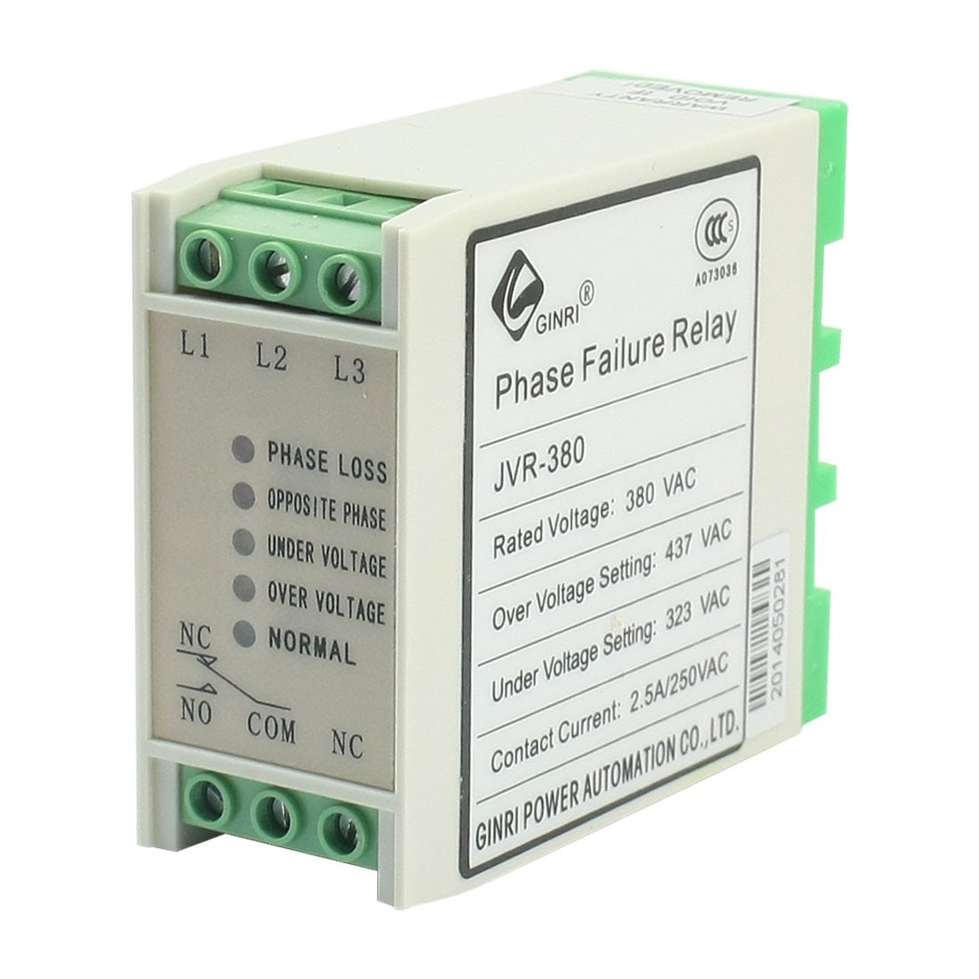 JVR-380 Three-phase AC 380V SPDT 5 LED Light Indicater Phase Failure Sequence Unbalance Over/Under Voltage Protective Relay