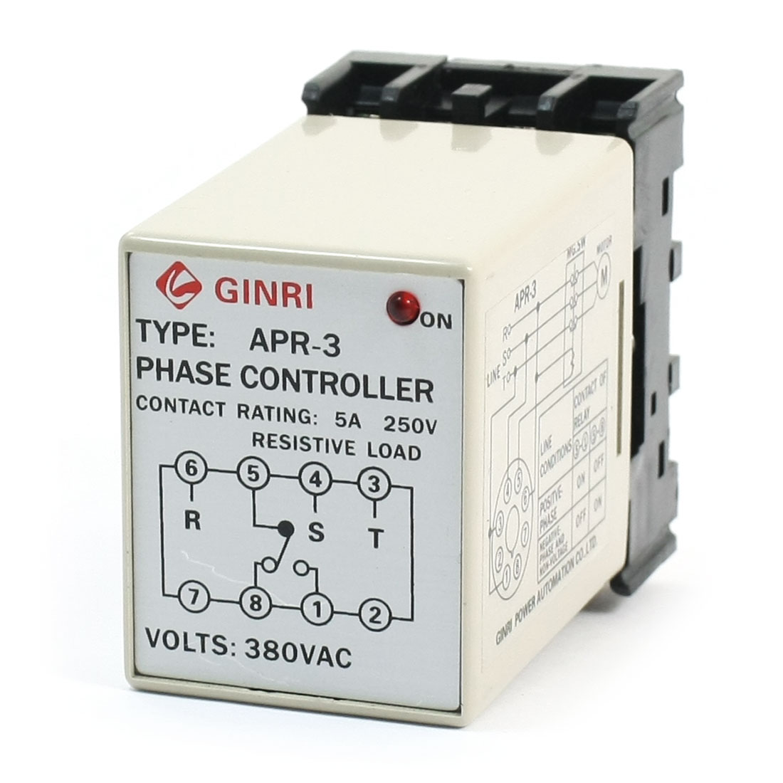 APR-3 Protective Three-phase AC 380V SPDT Red LED Light Indicater 35mm Rail Mounting Phase Failure Sequence Unbalance Relay