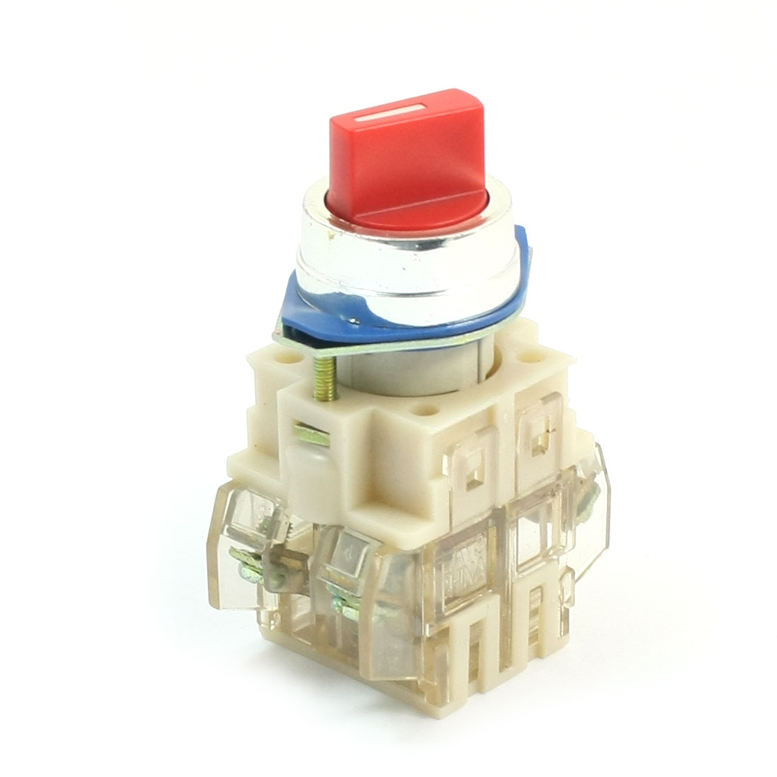 660V 10A 4-Terminal 3-Position Red Selector Locking Push Button Switch