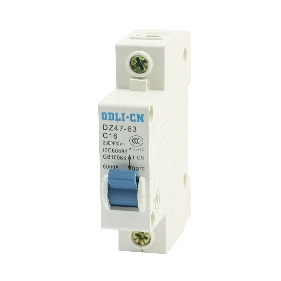 35mm DIN Rail Mounted 1 Pole Miniature Circuit Breaker AC 230/400V 16A