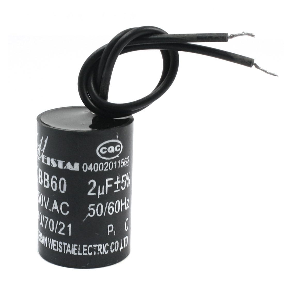 CBB60 2uF 5% Wired Capacitance Motor Star-up Capacitor AC450V