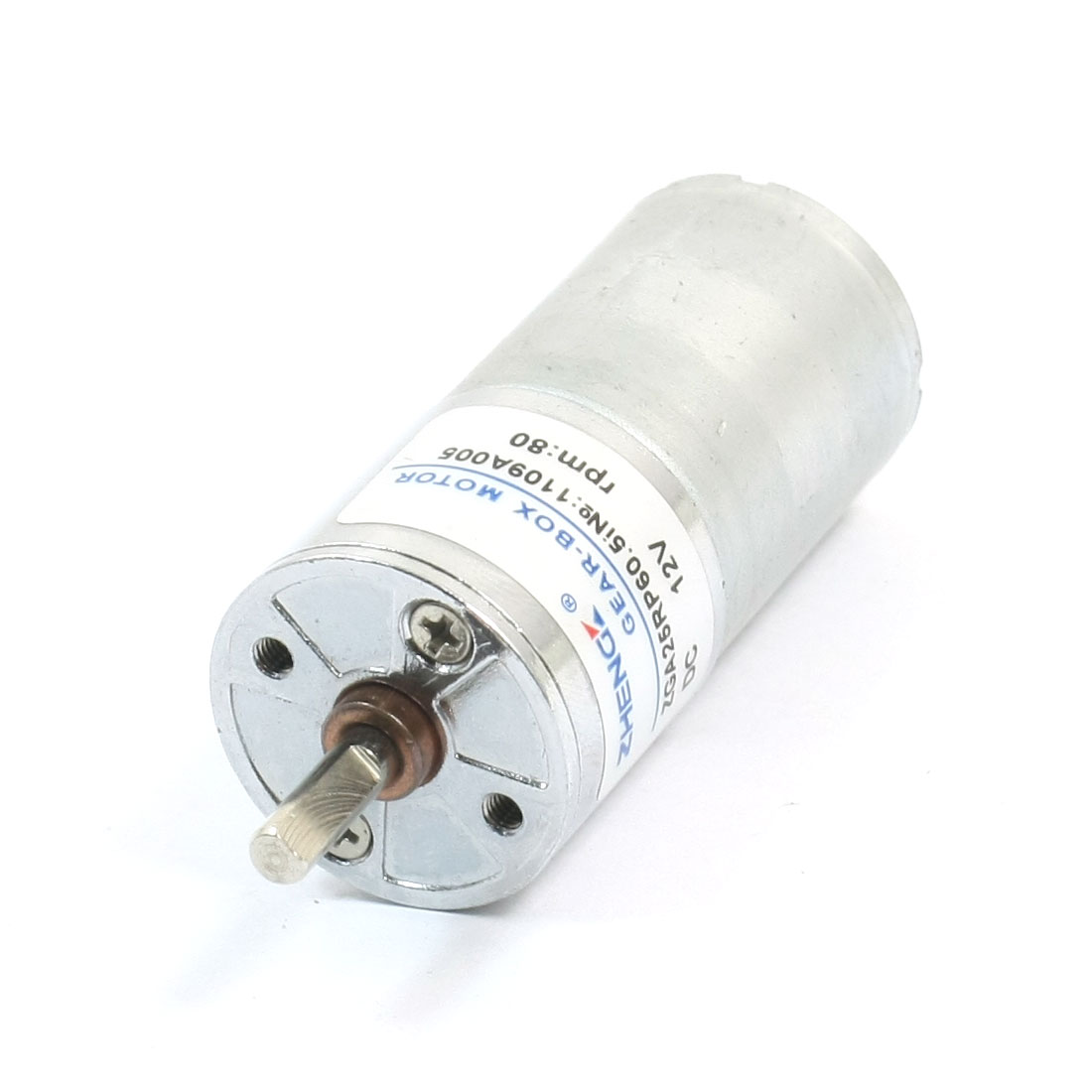 Cylinder 2.5mm Thread Hole Dia Metal Gear Box Motor DC12V 80RPM