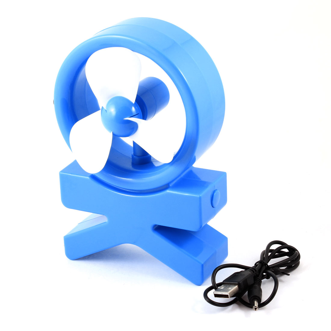 Desktop Notebook Plastic 3 Flabellums Mini USB Cooling Cooler Fan Blue White