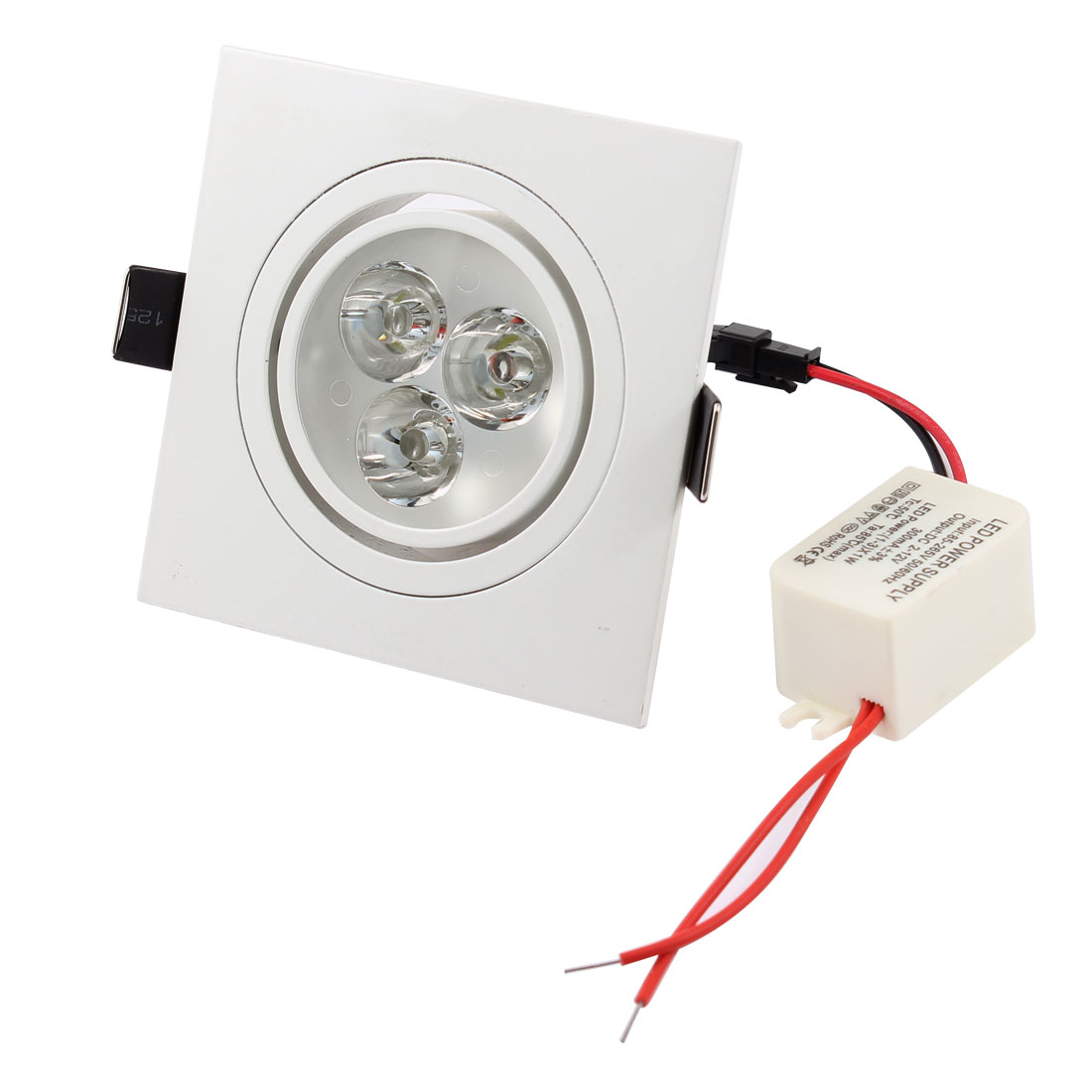AC85V-265V 3W 3 LEDs Pure White Ceiling Downlight Recessed Spotlight Lamp Bulb