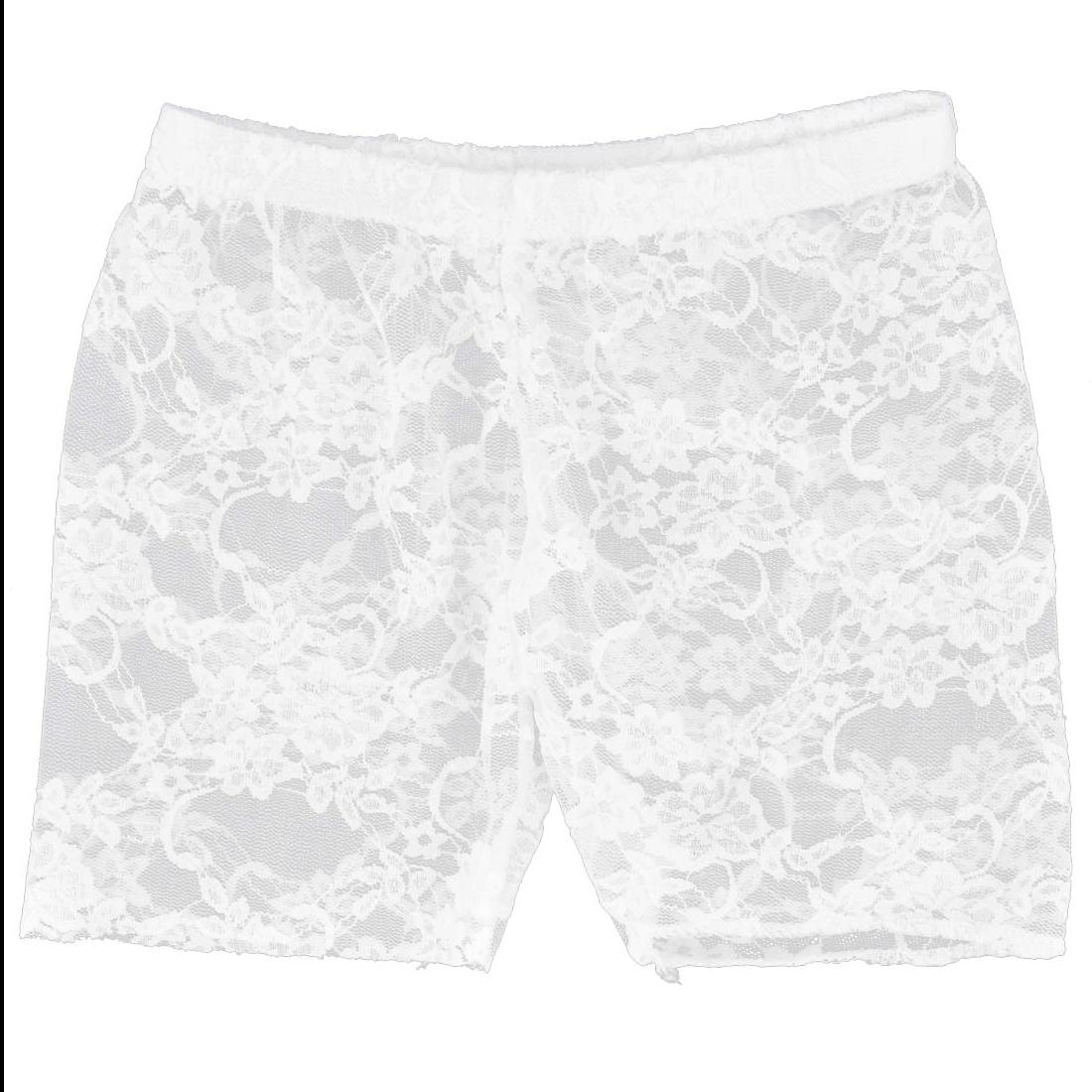 Women Floral Lace Semi Sheer Safety Shorts Pants Leggings White XS