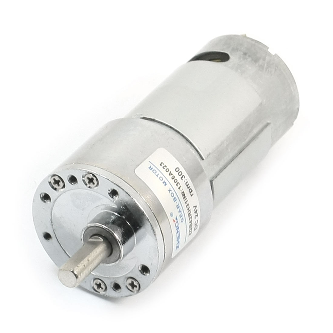 DC24V 300RPM 17x7mm Shaft Gearbox Magnetic Electric Motor Silver Tone
