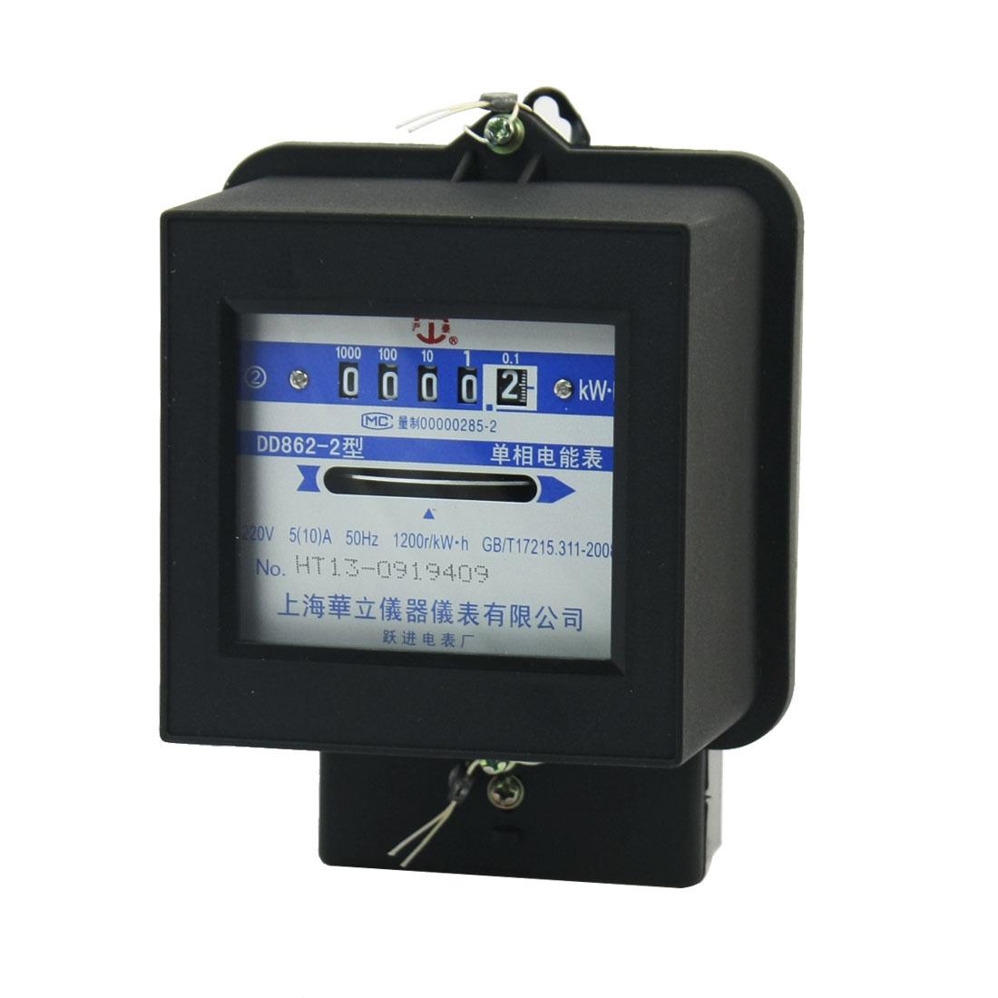 DD862-2 Wall Mounting 0-9999.9 5-Digits One Phase Kilowatt Hour Watt-Hour Energy Meter AC 220V 5A