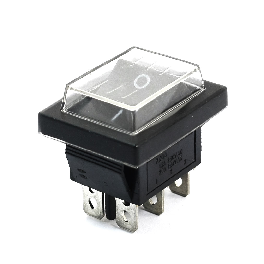 AC250V 16A 125V 20A DPDT 2NO 2NC 6 Pin Soldering 2 Position ON-OFF Snap in Mounting Waterproof Cover Boat Rocker Switch