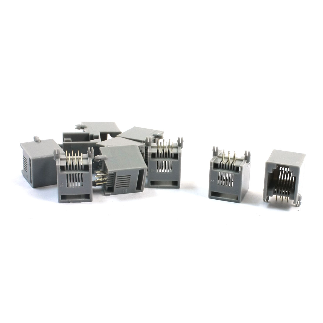 10 Pcs RJ11 6P6C 6Pin Male Modular Unshielded PCB Telephone Jack Connector Adapter Socket Gray
