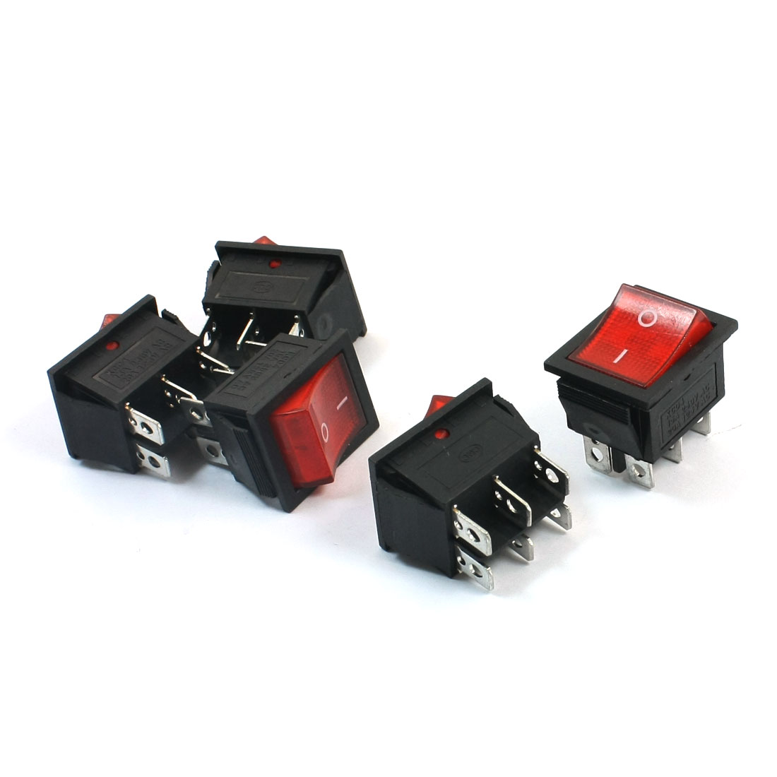5Pcs 15A/20A AC 250V/125V 6 Terminal Locking DPDT On Off Rocker Switch