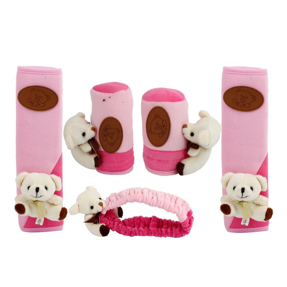 5 in 1 Bear Decor Pink Plush Gear Shift Knob Mirror Hand Brake Seatbelt Cover for Car