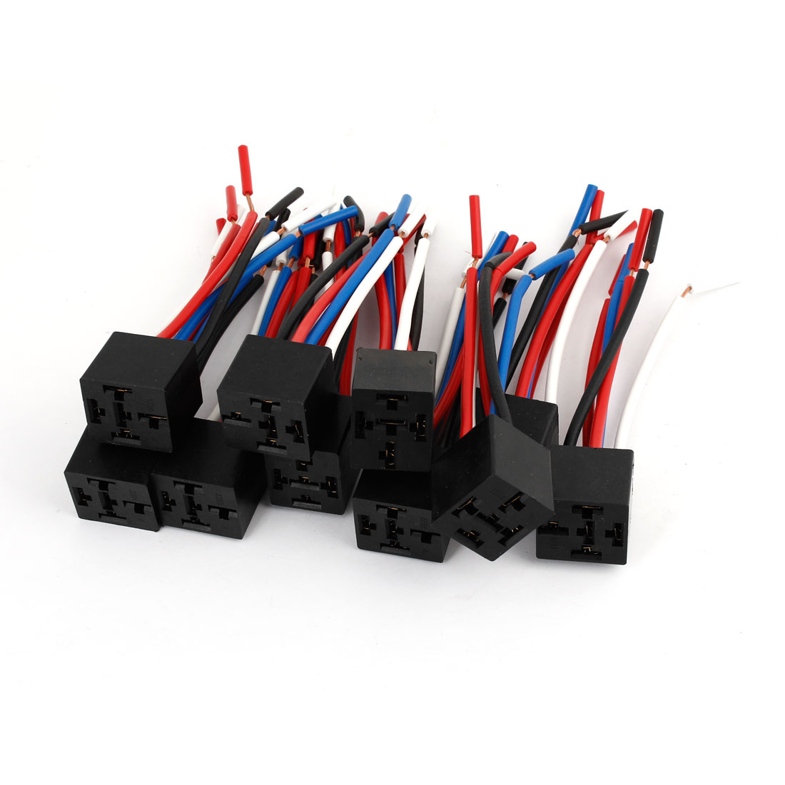 Car Auto Black 5 Pin Wiring Relay Socket Harness Connector DC 12V 10 Pcs