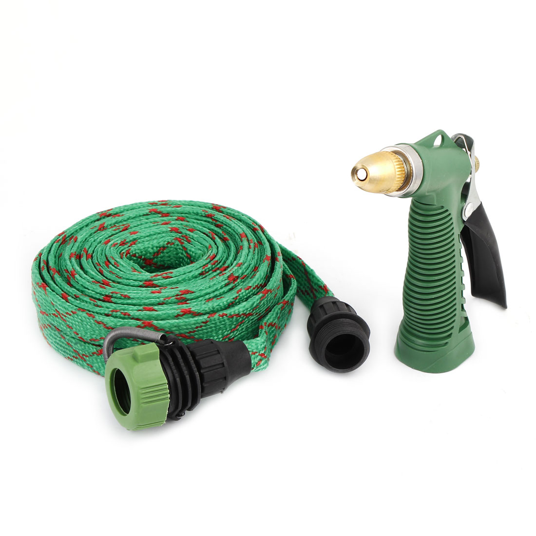 5M 16ft Long Nylon Hose Garden Watering Car Washing Gun Sprayer Green