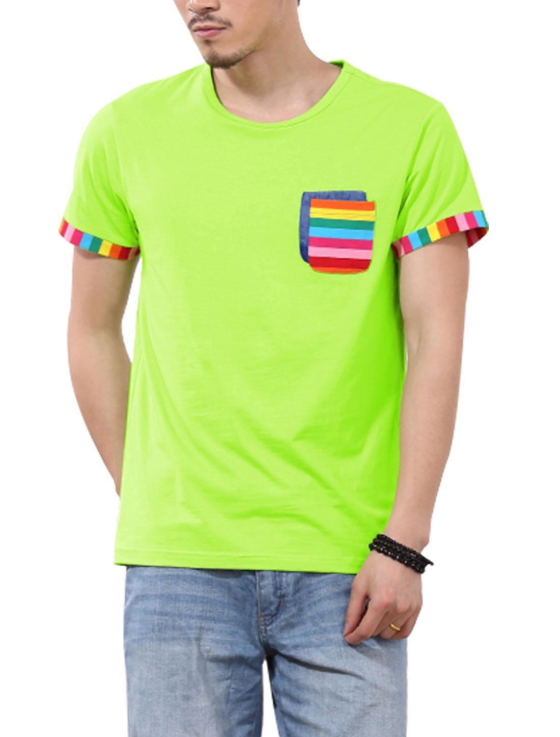 Men Short Sleeve Pullover Chest Pockets Fashion Top Light Green M