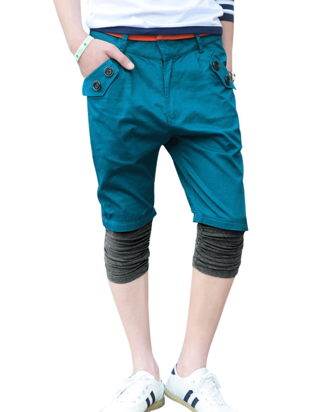 Men Zip Up Panel Design Shirred Cuffs Capris Pants Peacock Blue W30