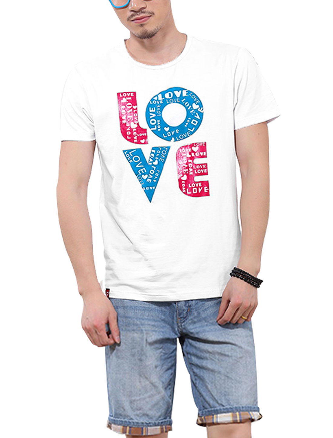 Men NEW Trendy Short Sleeve Letters Printed T-Shirt White M