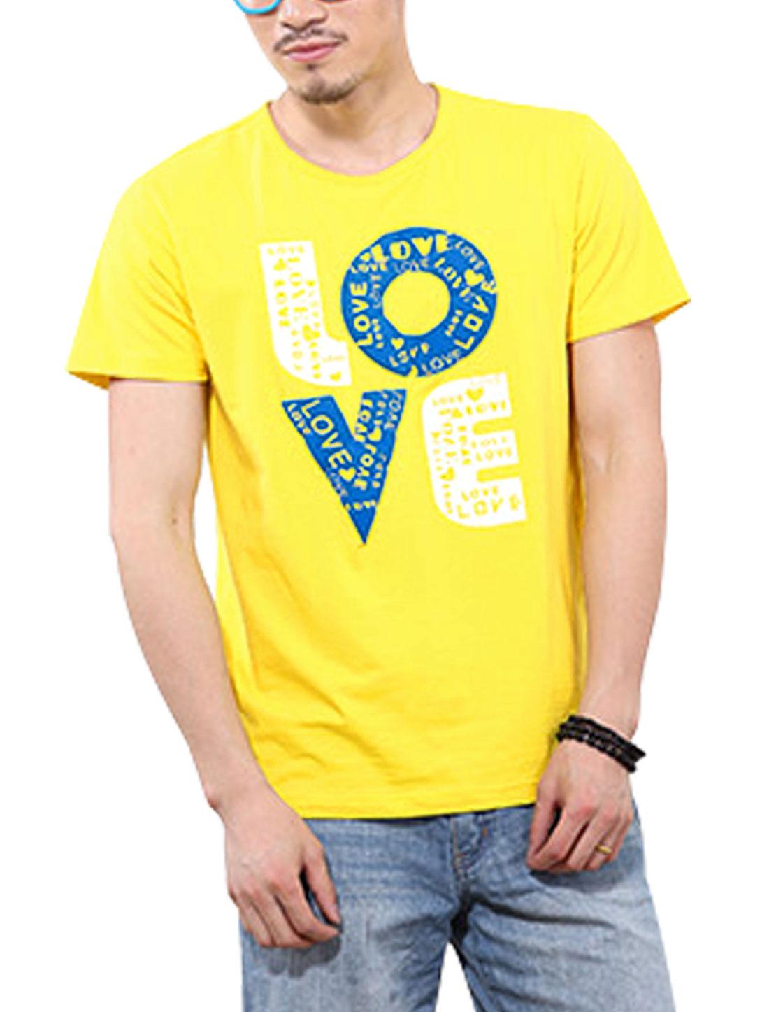 Men NEW Trendy Slipover Design Letters Printed T-Shirt Light Yellow M