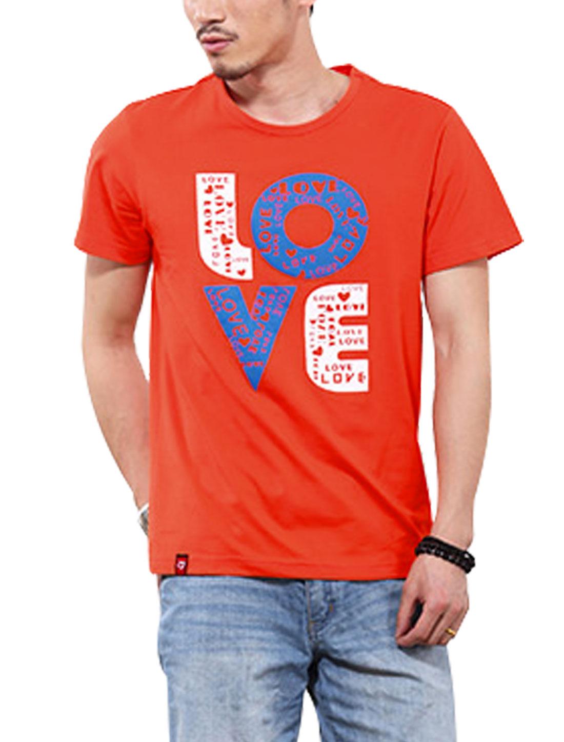 Men Fashion Design Letters Printed T-Shirt Orange M