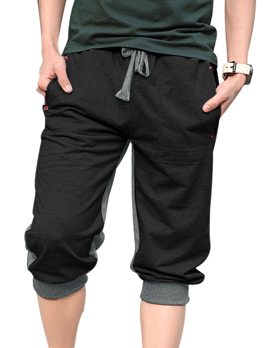 Men Elastic Drawstring Waist Side Pockets Fashion Capris Pants Black Gray W30