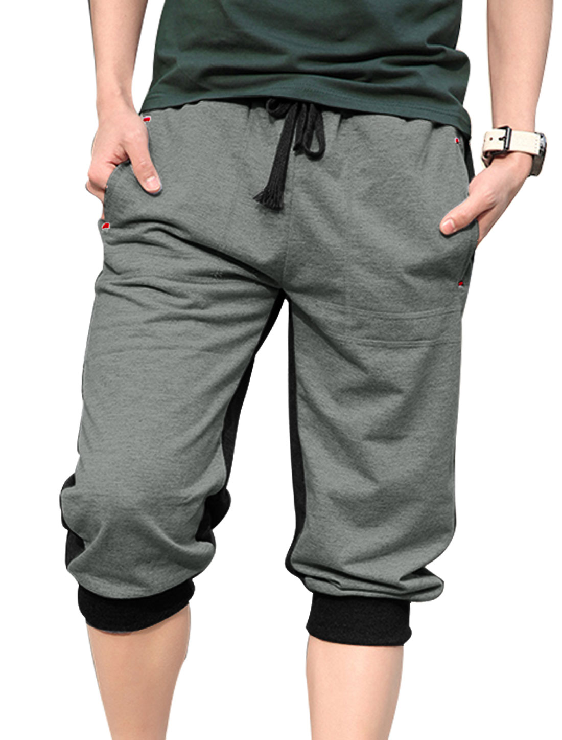 Men Ribbed Cuffs Embroidery Detail Fashion Capris Pants Gray Black W30