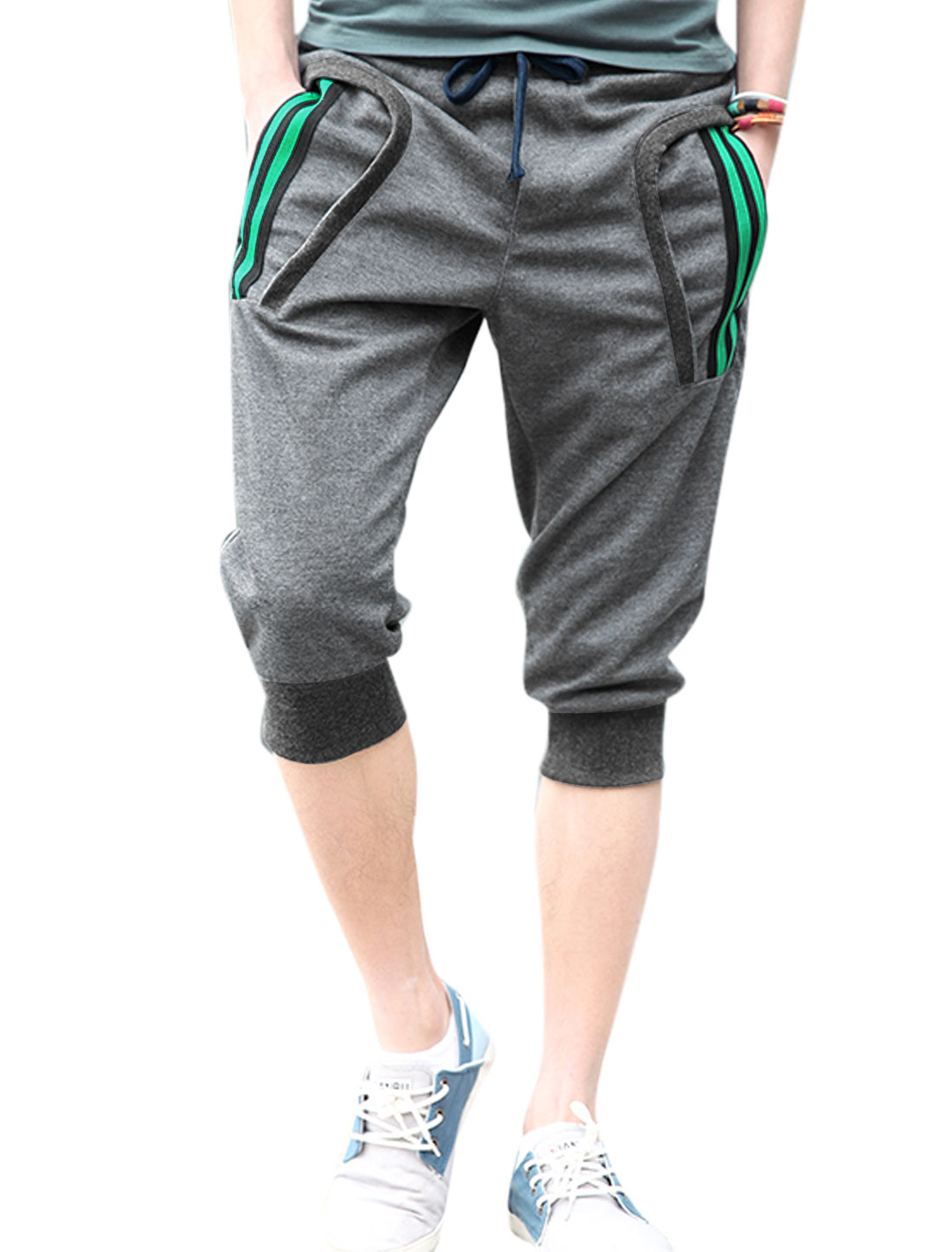Men Summer Side Zipped Pocket Back Capris Pants Dark Gray W30