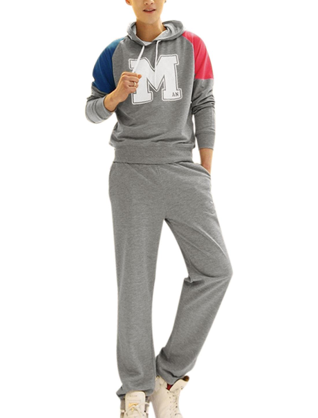 Man Long Sleeve Letter Print Panel Hoodie Sweatshirt w Elastic Waist Slant Pockets Pants Gray S