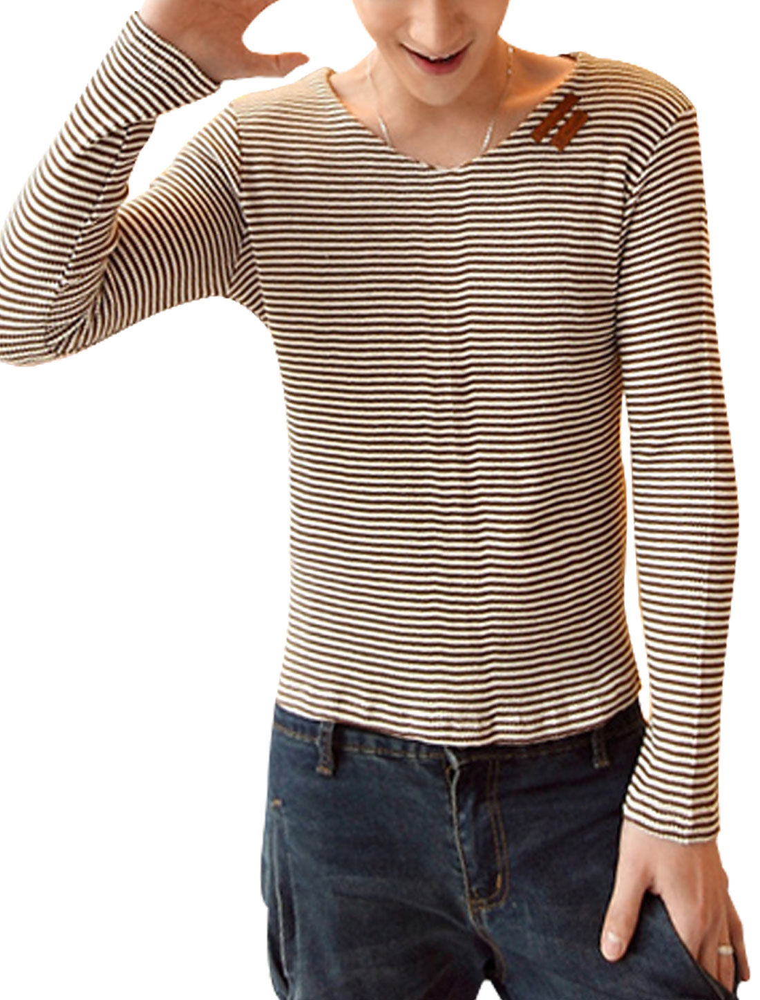 Men V Neck Long Sleeve Stripes Stretchy Slim Fit Top Shirt Coffee White S