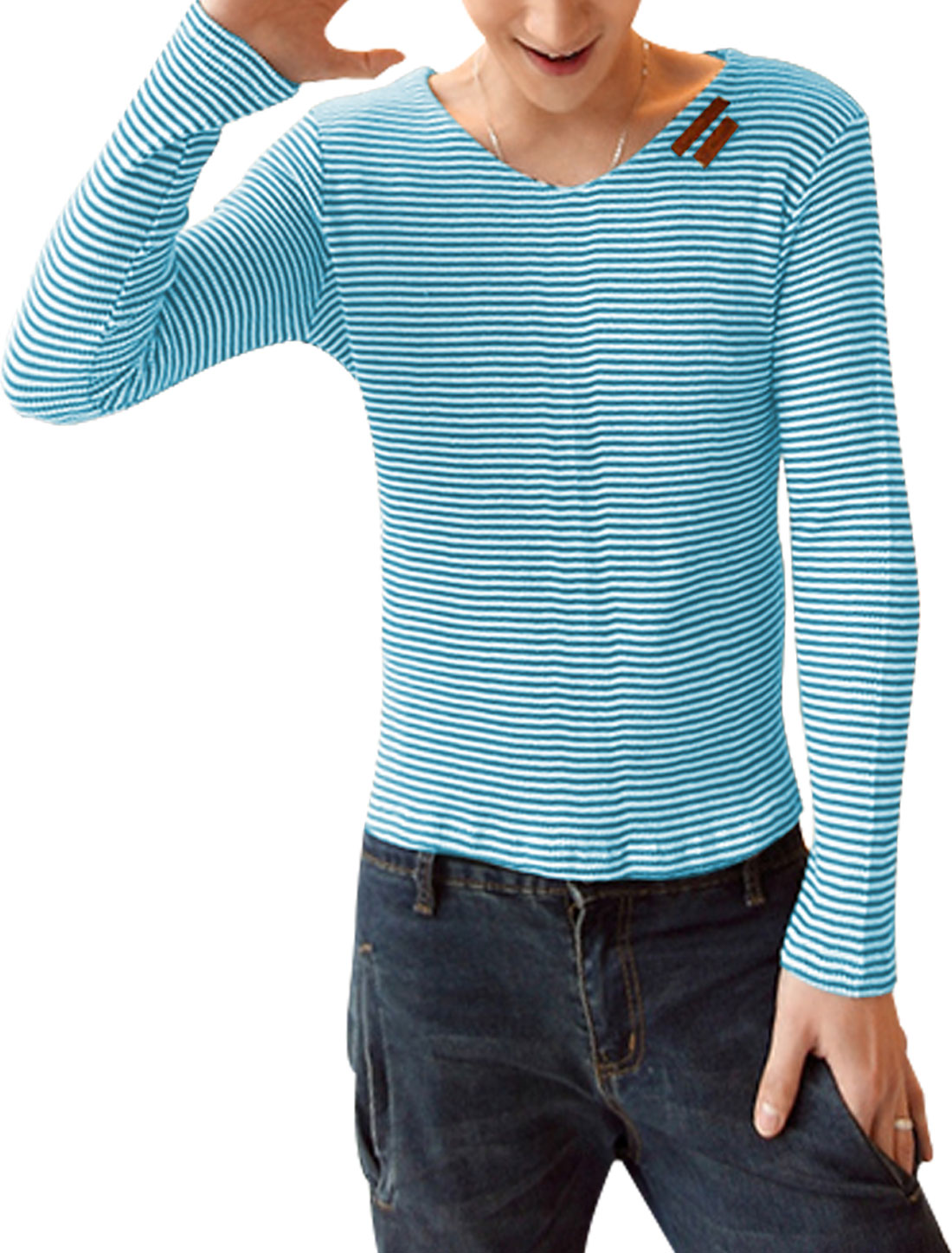 Men Long Sleeve Stripes Pattern Stretchy Slim Fit Top Shirt Light Blue White S