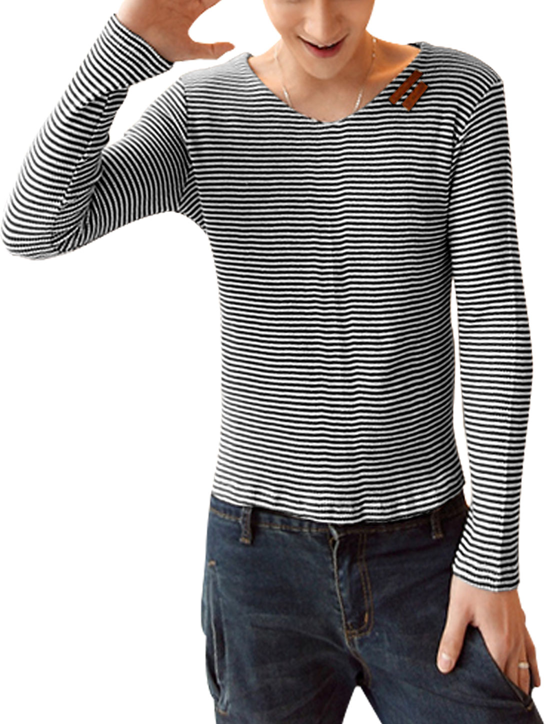 Men Imitation Leather Decor Stripes Stretchy Top Shirt Black White S