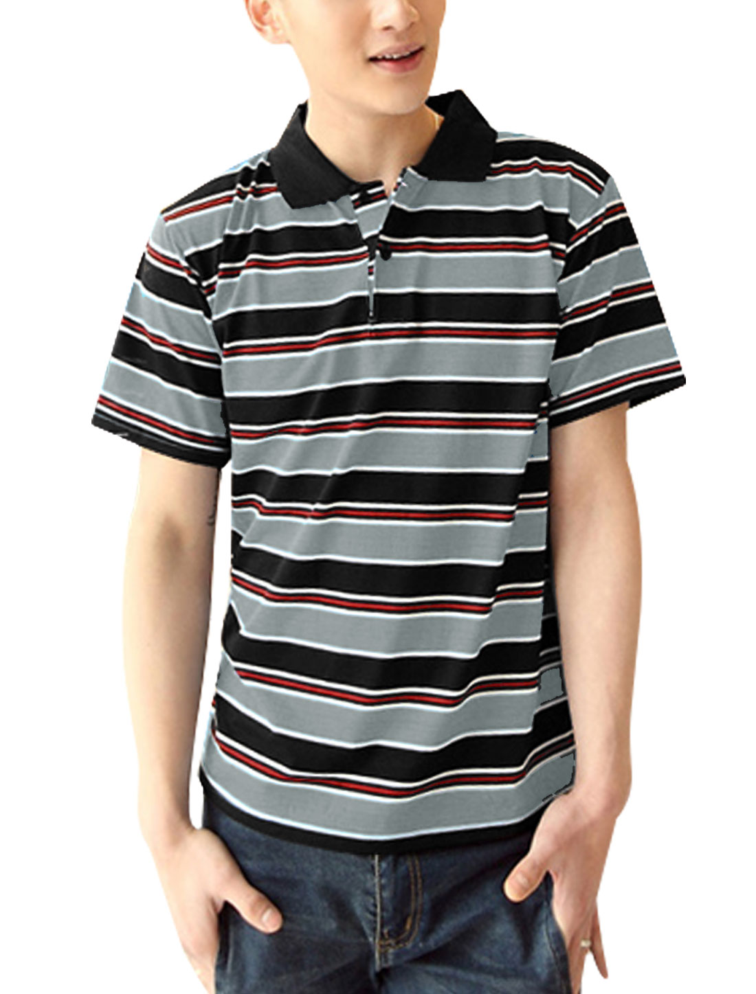 Men Stripes Pattern Two Buttons Closure Slim Fit Polo Shirt Black Light Gray M