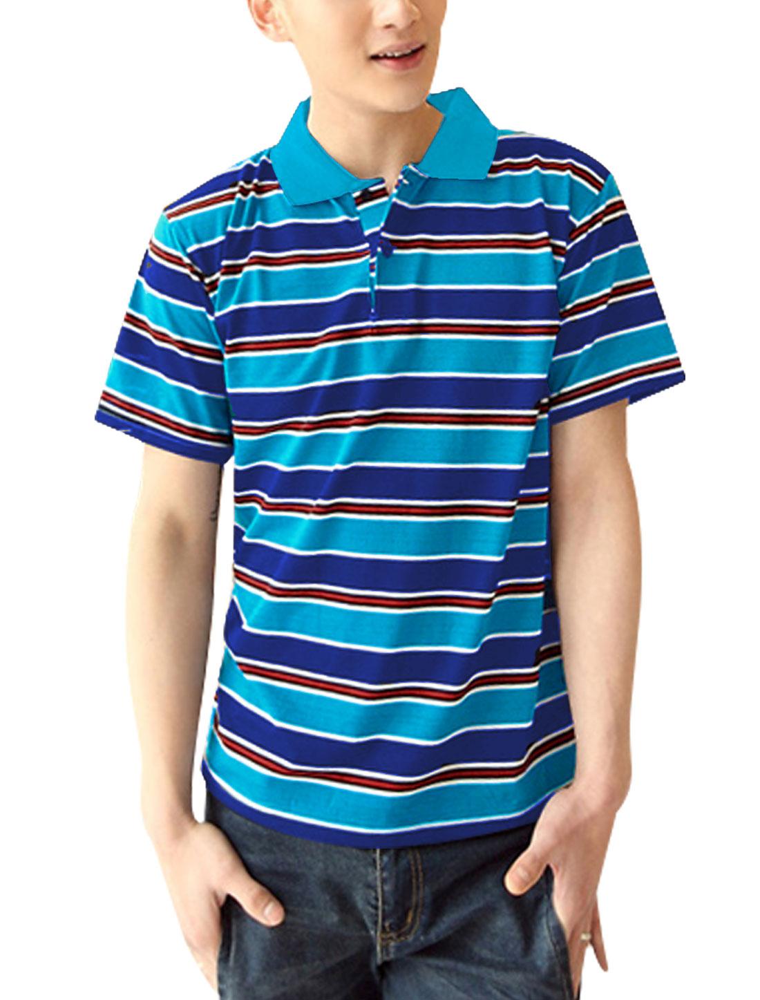 Men Stripes Pattern Rib Knit Detail Slim Fit Polo Shirt Navy Blue Light Blue M