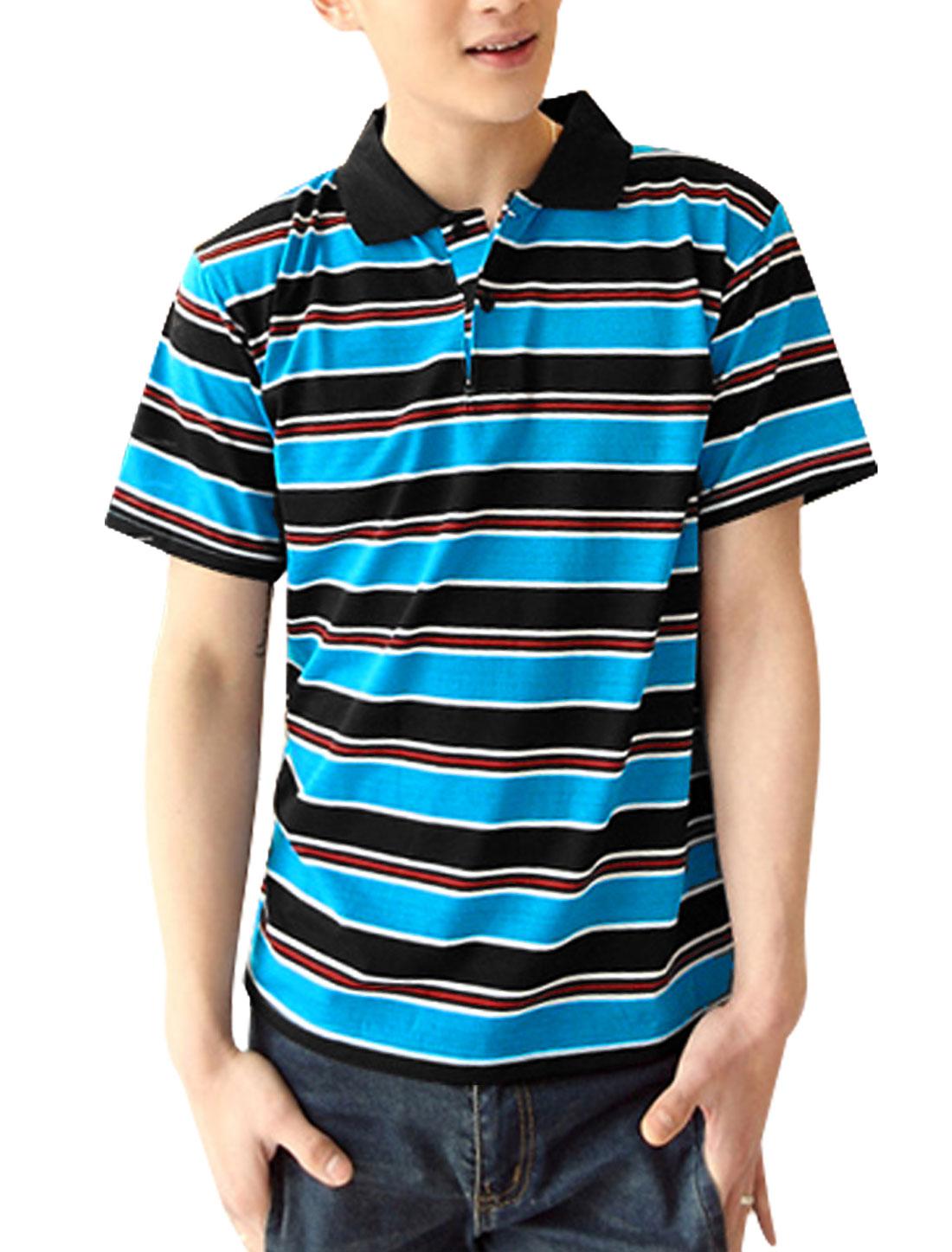 Men Two Buttons Closed Rib Knit Detail Polo Shirt Black Light Blue M