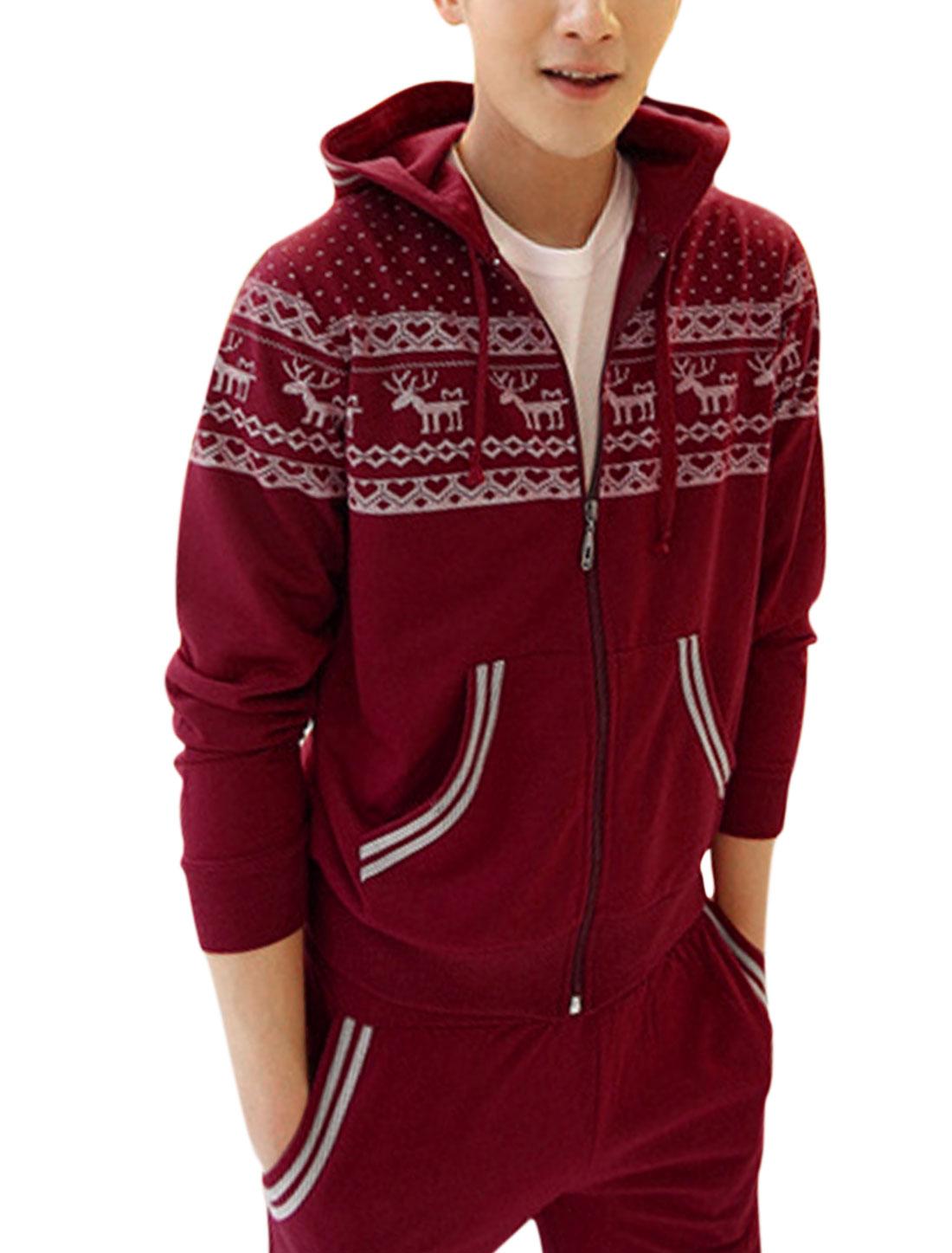 Men Kangaroo Pockets Hooded Jacket w Elastic Waist Pants Red M