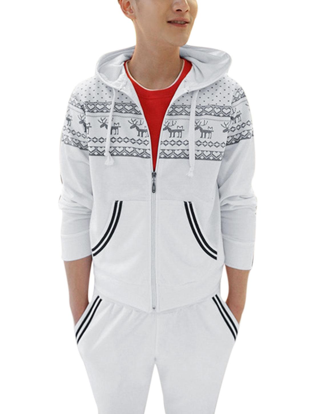 Men Deer Printed Hearts Printed Hooded Jacket w Drawstring Pants White M