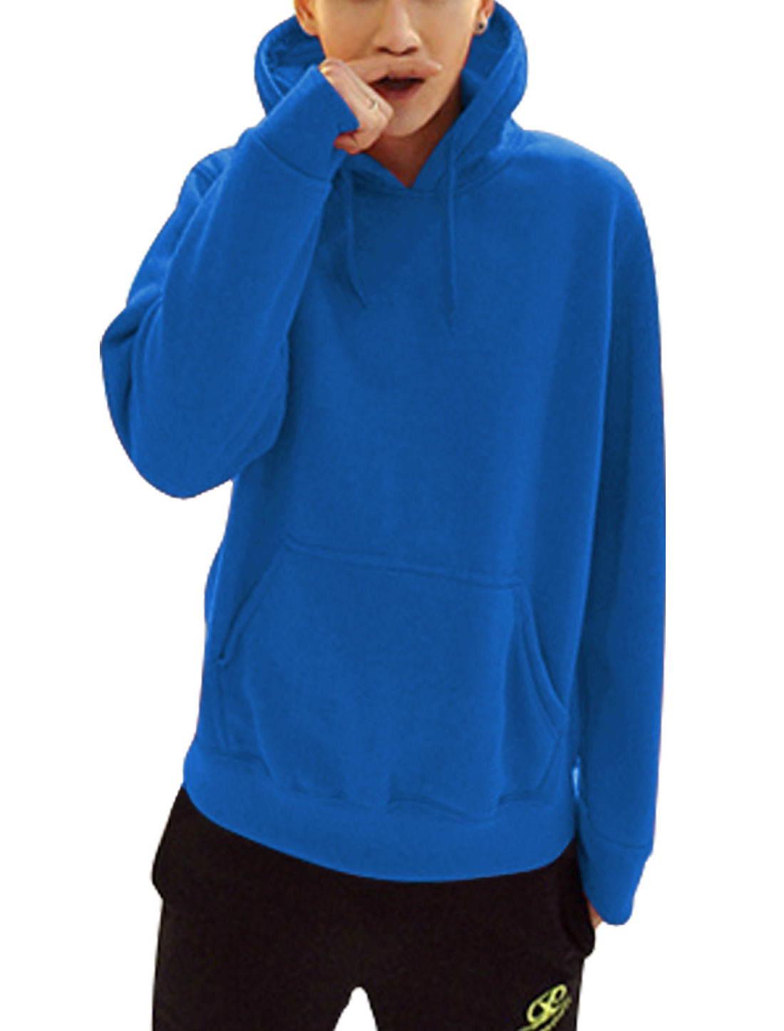 Men Fleece Lined One Kangaroo Pcoket Fashion Thick Hooded Sweatshirt Royal Blue L