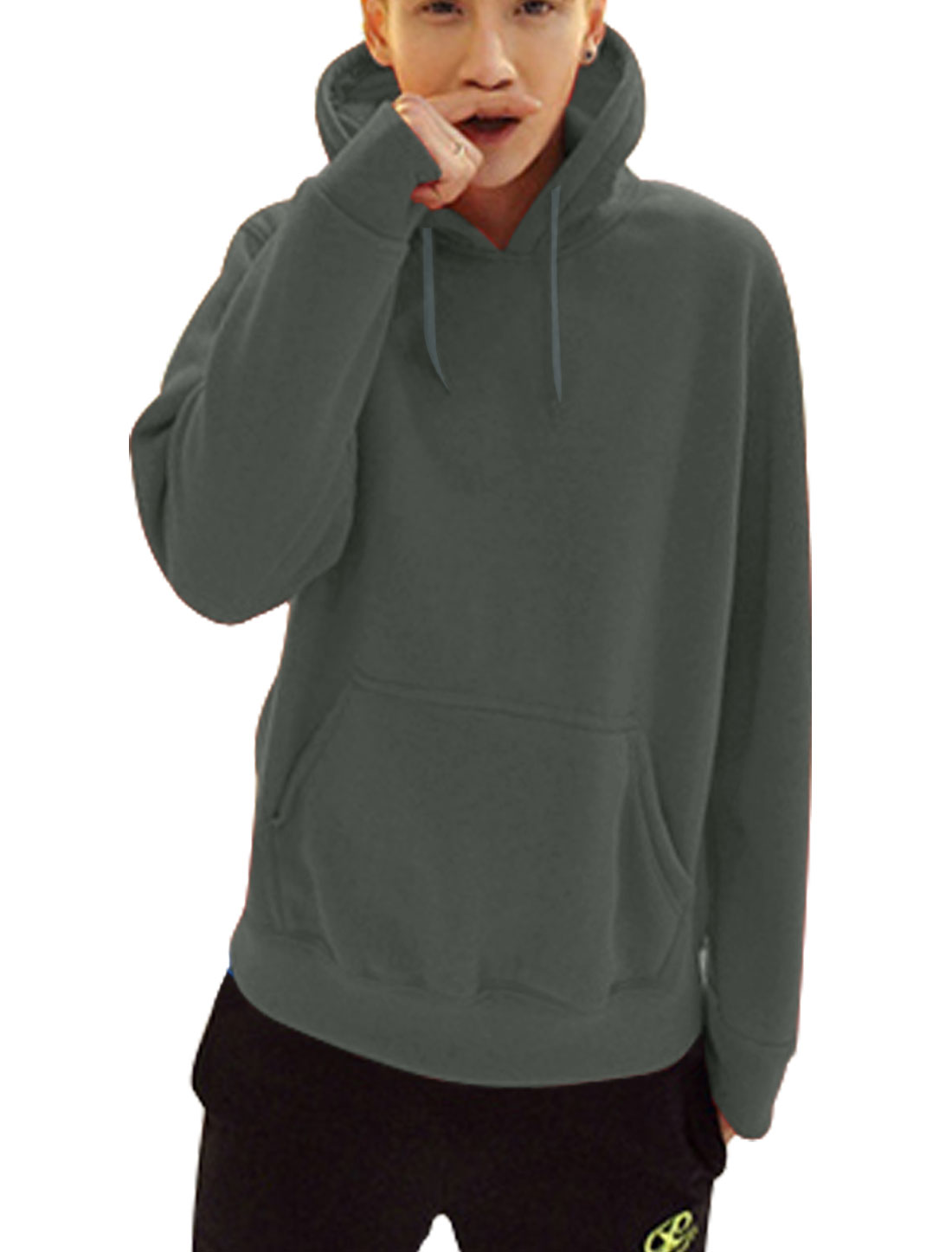 Men Fleece Lined Drawstring Design Fashion Thick Hooded Sweatshirt Dark Gray L