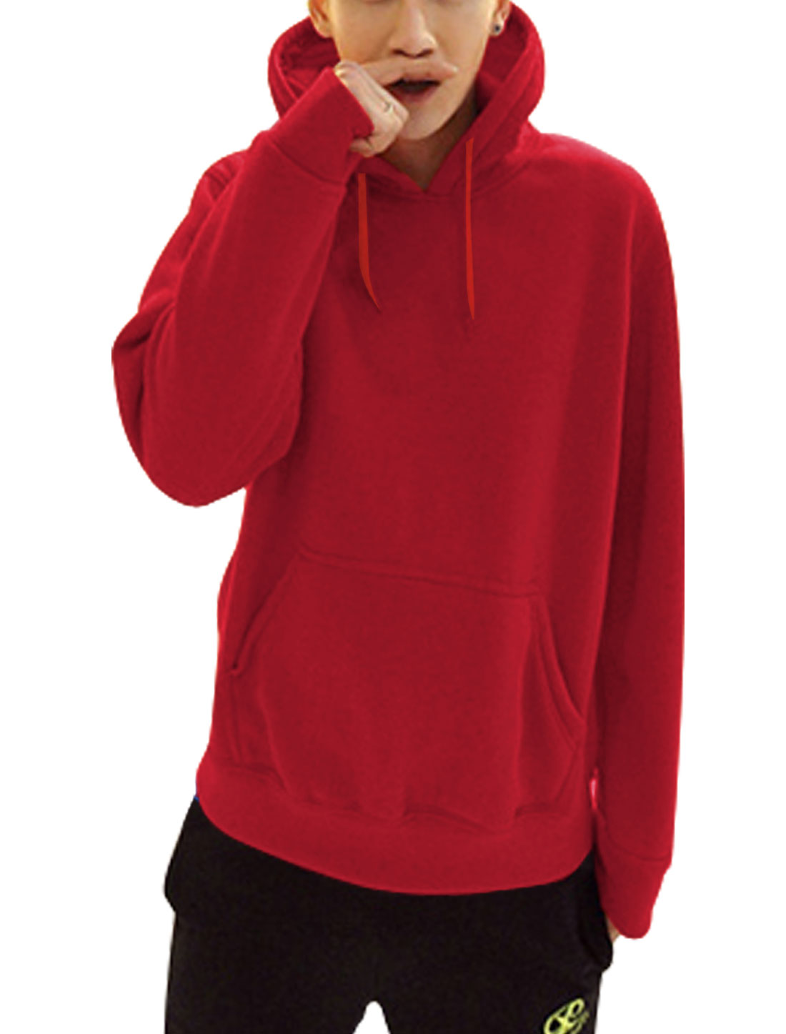 Men Drawcord Design Kangaroo Pcoket Fashion Thick Hooded Sweatshirt Red L
