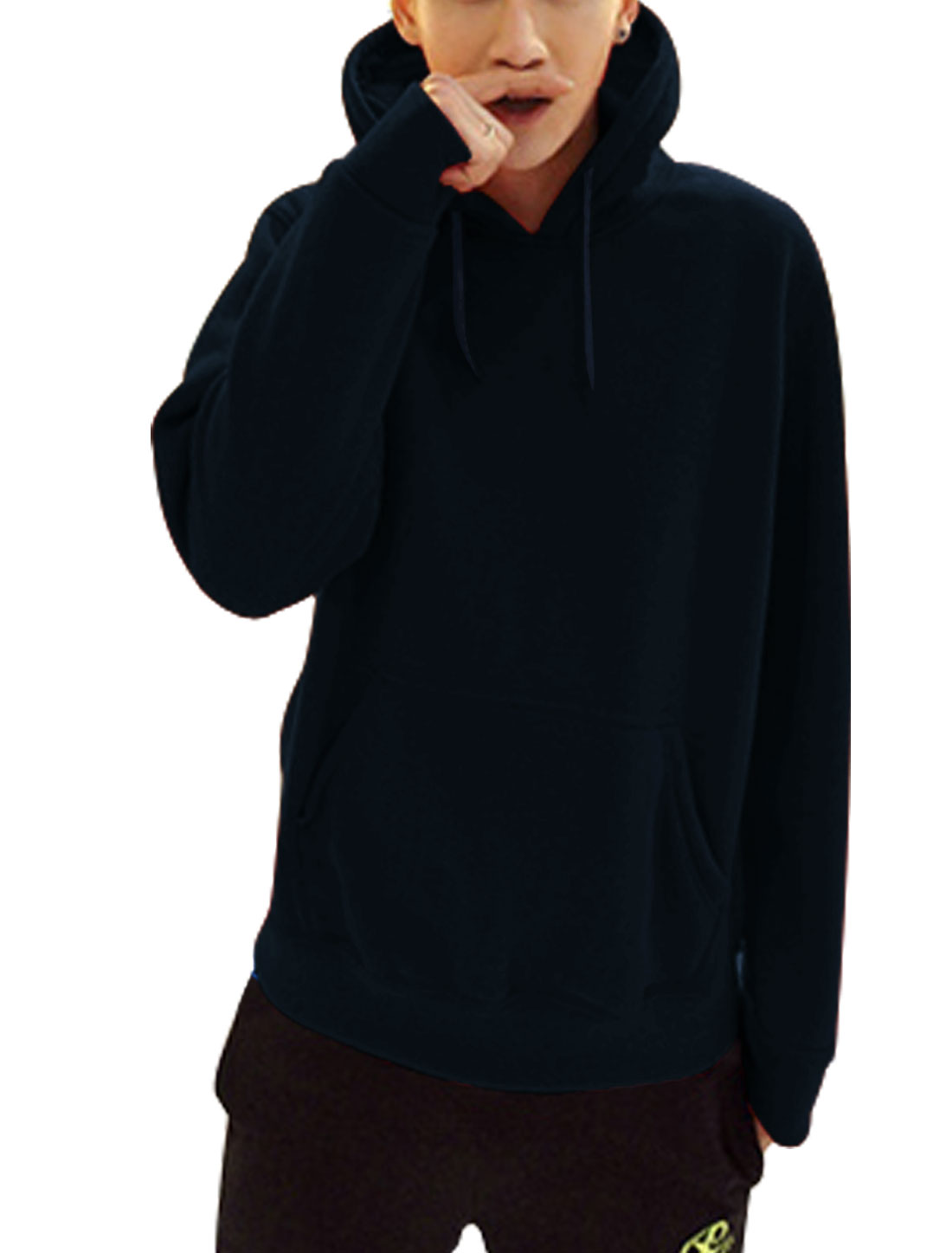 Men Single Kangaroo Pcoket Drawcord Chic Thick Hoodie Navy Blue L