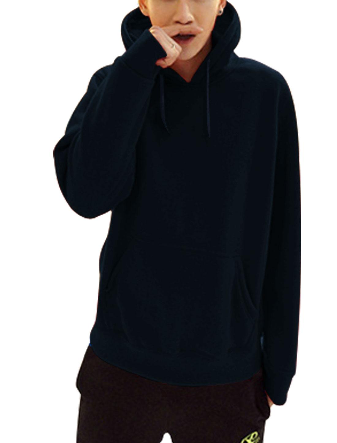Men Single Kangaroo Pcoket Drawcord Chic Thick Hoodie Navy Blue L