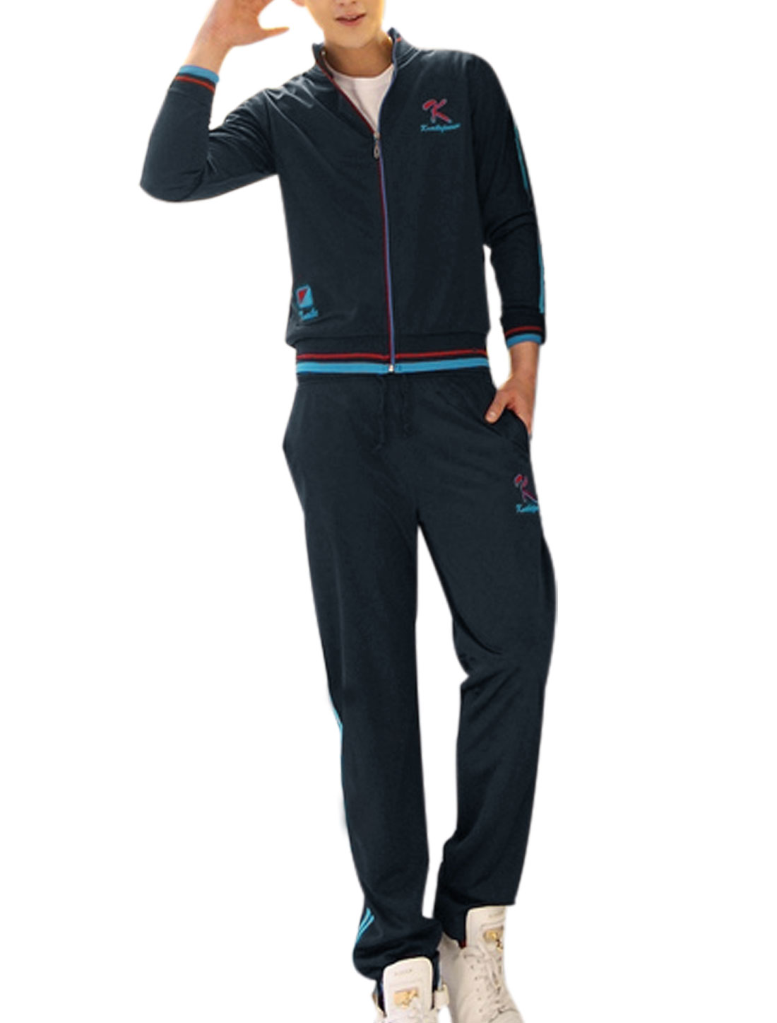 Men's Stand Collar Long Sleeve Tracksuit Jacket w Side Pockets Pants Navy S