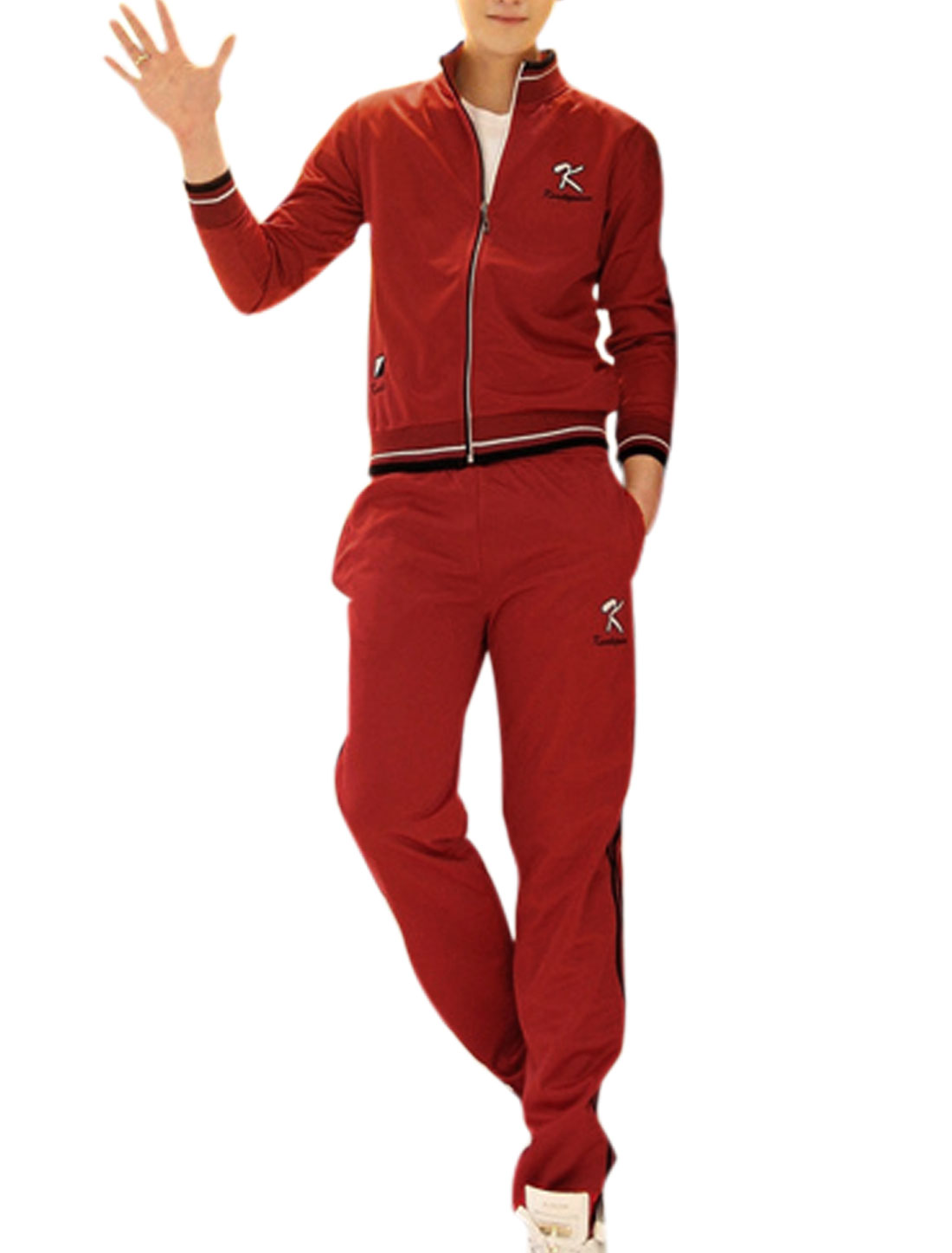 Man Stand Collar Long Sleeve Tracksuit Jacket w Elastic Waist Side Pockets Pants Red S