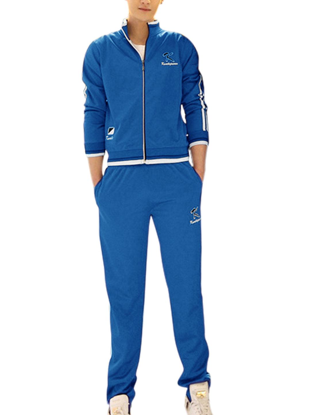 Man's Long Sleeve Zip Up Jacket w Elastic Waist Side Pockets Pants Royal Blue S