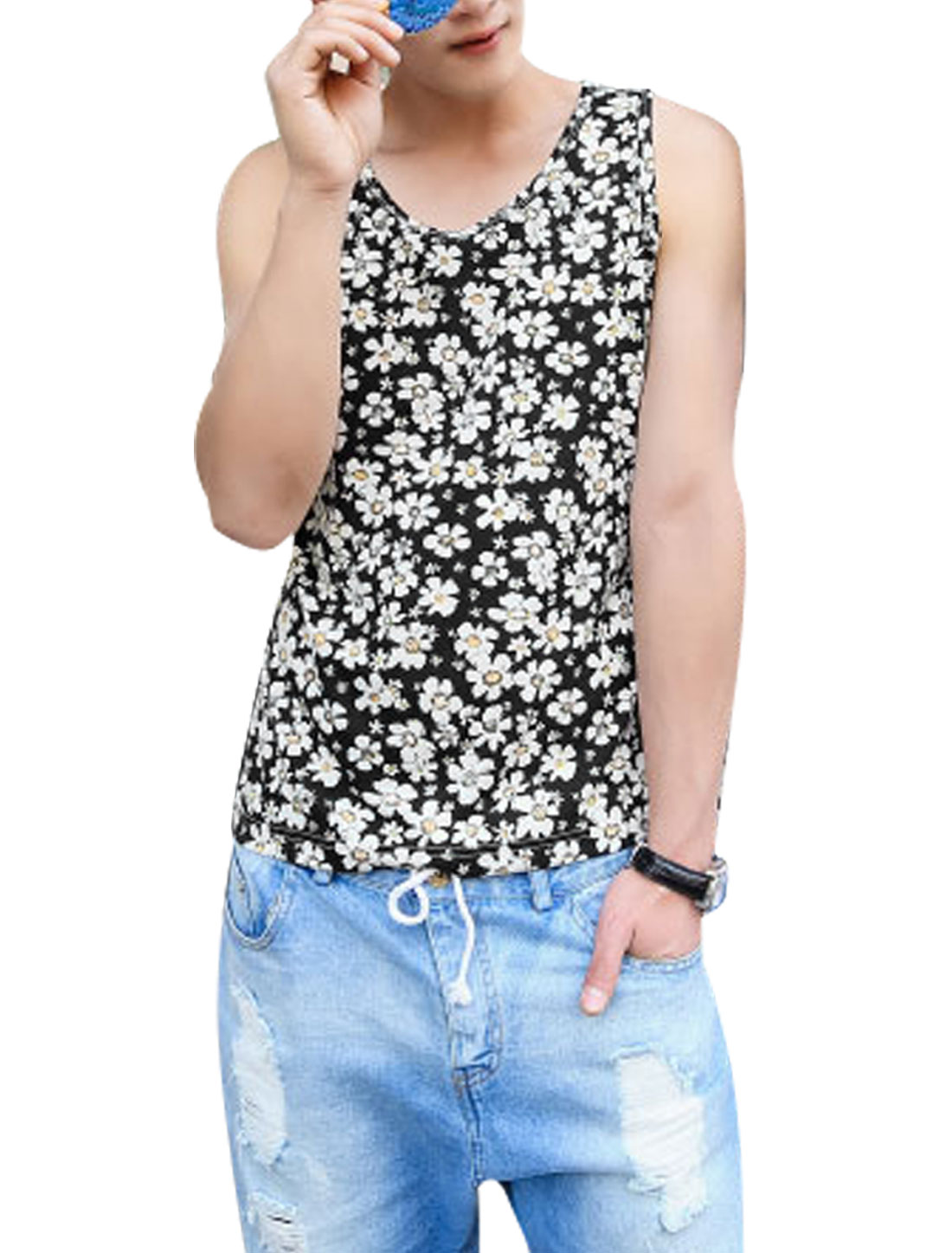 Men Round Neck Flower Pattern Trendy Tank Top Black White M