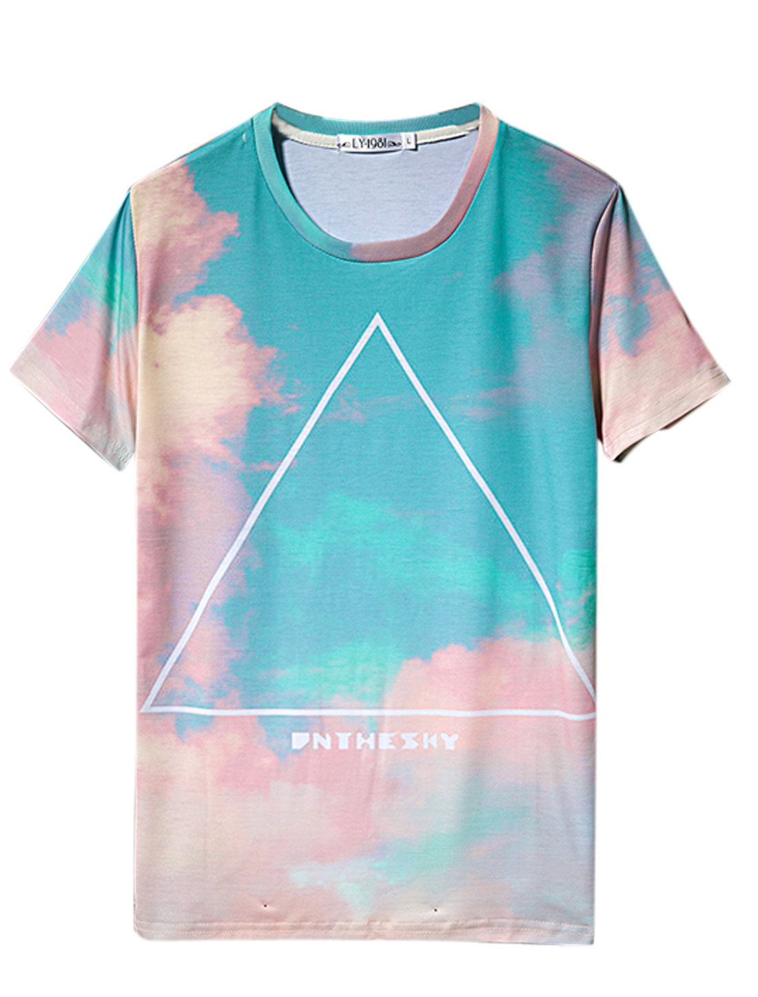 Man's Round Neck Short Sleeve Triangle Sky Print Tee Shirt Multicolor M