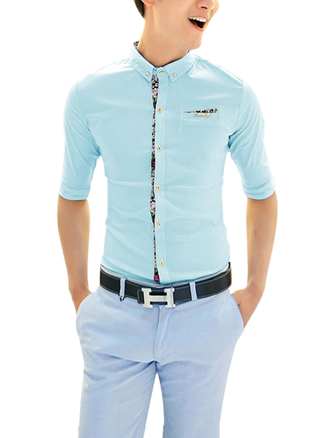 Men Point Collar Mock Breast Pocket Fashion Button Down Shirt Light Blue S