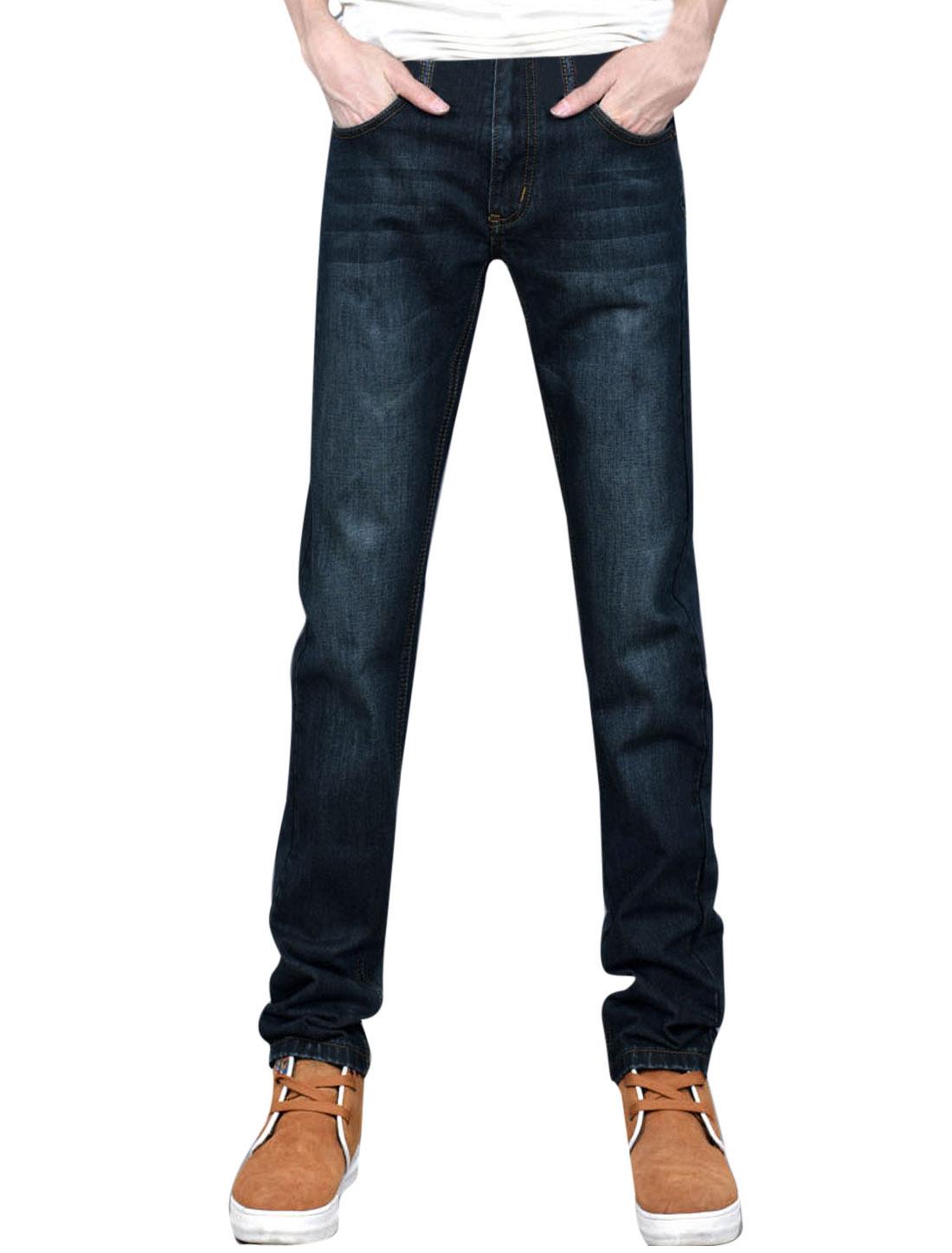 Men Belt Loop Zip-Front Pockets Back Washed Jeans Dark Blue W32