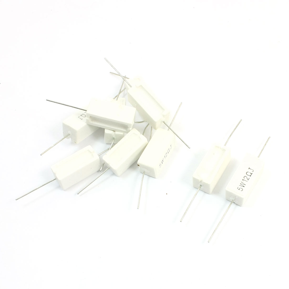 10Pcs 12 Ohm 5Watt Axial Leading Type Through Hole Rectangle Ceramic Cement Power Resistor 22mm x 10mm x 10mm